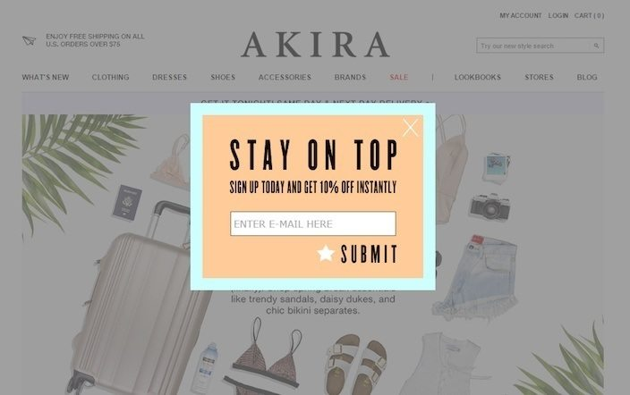 This picture shows how Akira uses a squeeze page to collect emails and grow its subscriber list for sales discounts.