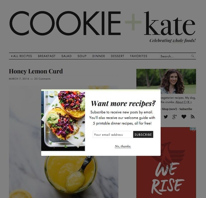 This picture shows how Cookie & Kate uses a squeeze page to collect emails and nurture them into paying customers.