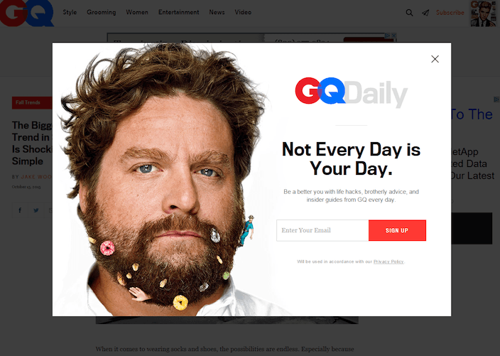 This picture shows how GQ Magazine uses a celebrity image on its squeeze page to collect email newsletter signups.