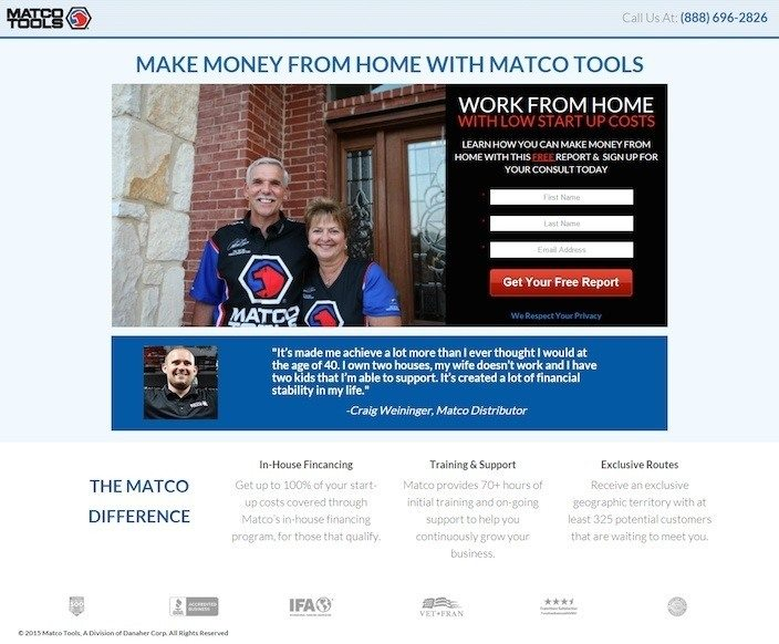 This picture shows how Matco Tools uses a short form, smiling faces, and a testimonial to collect leads from its squeeze page.