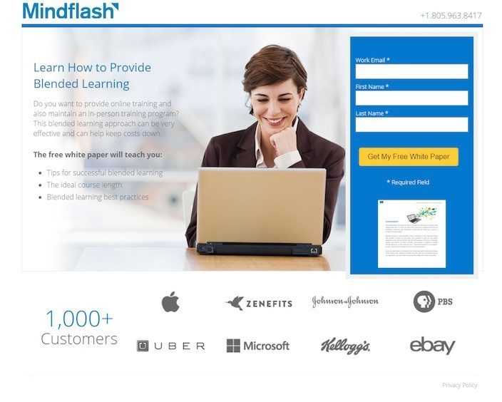 This picture shows how Mindflash uses a squeeze page to capture email addresses and nurture leads.