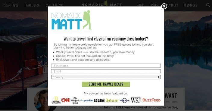 This picture shows how Nomadic Matt uses a squeeze page to collect email addresses to send subscribers travel deals.