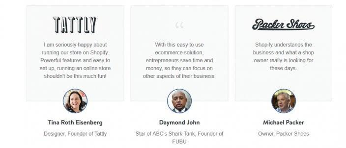 this picture shows testimonials Shopify uses on one of its landing pages