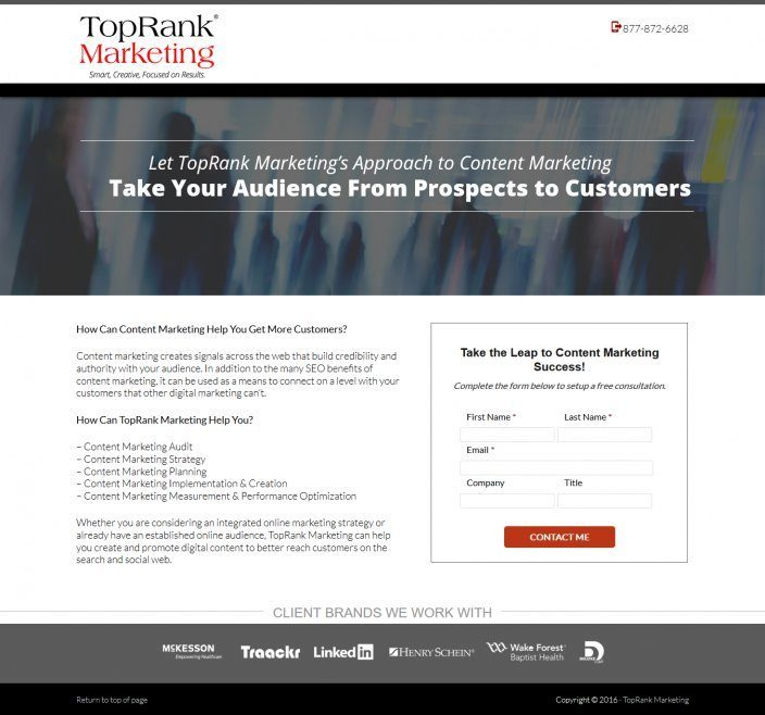 this picture shows the to the point headline TopRank marketing uses on its webinar landing page