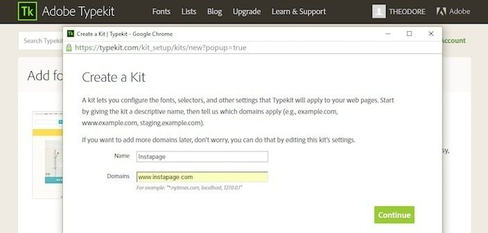 This picture shows marketers how to create a font kit in Adobe Typekit.