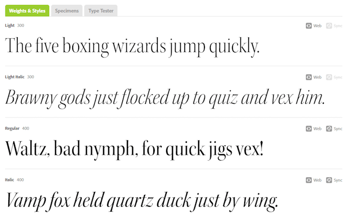 This picture shows marketers how to preview different font weights and styles in Adobe Typekit.