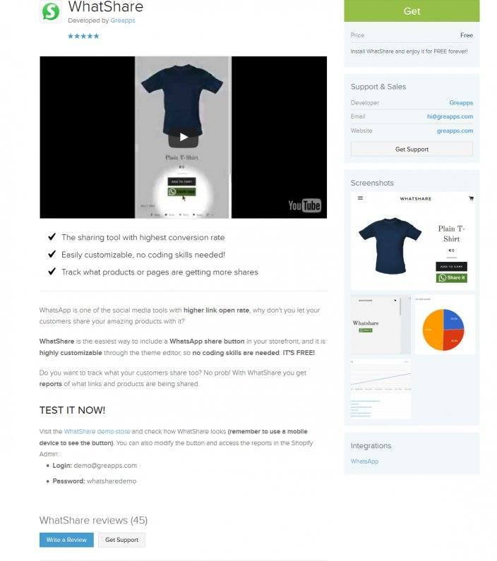 this picture shows the product page for the whatshare app