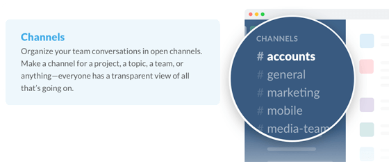 This picture shows marketing agencies how to use Slack to communicate with team members and manage client's projects.