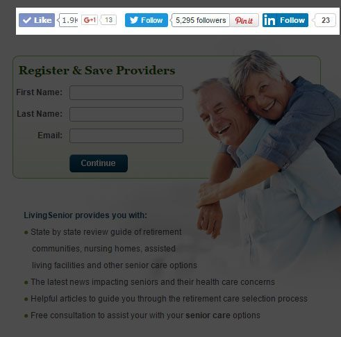 This picture shows marketers how LivingSenior uses social sharing counts on its landing page to increase conversions.