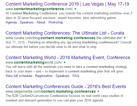 This picture shows marketers how to use SEO and Google search to generate event landing page traffic and conversions.