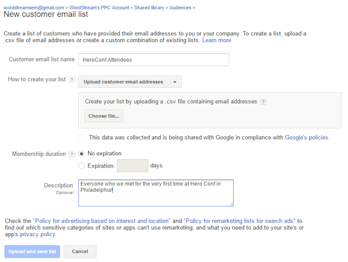 This picture shows how to set up specific lists with AdWords customer match.