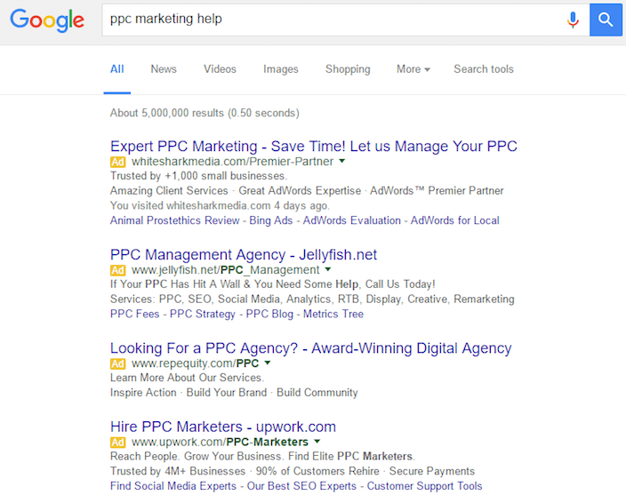 "This picture shows the search results for ""PPC marketing help"" and how to use AdWords customer match for better targeting."