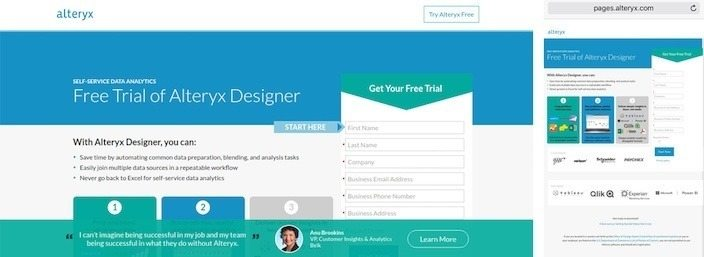 This picture shows marketers how Alteryx's static landing page is not responsive to different screen sizes.