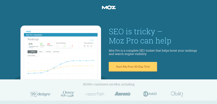 This picture shows marketers how Moz uses a click through landing page to generate free trial conversions.