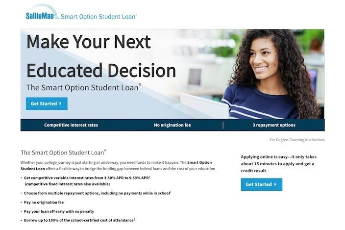 This picture shows marketers how SallieMae uses a click through landing page to generate conversions.