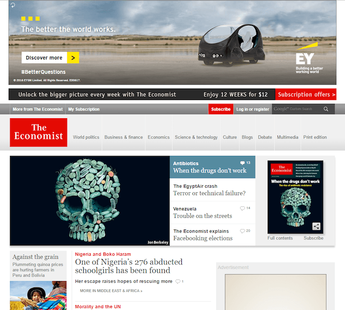"This picture shows The Economist's homepage and how ""busy"" it is with many eye catching elements."