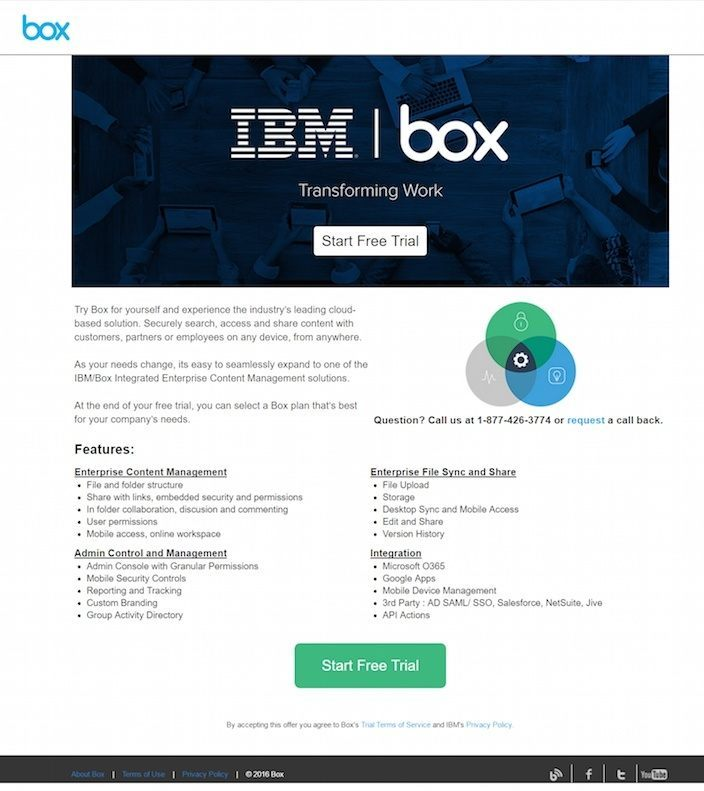 This picture shows how IBM uses a Drupal landing page to generate free trial signups.