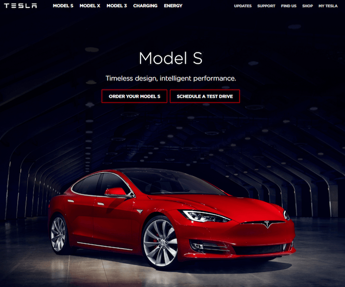 This picture shows Tesla Motors' website that is built with the Drupal CMS.