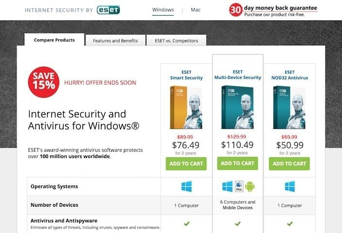 This picture shows marketers how ESET uses a click through landing page to generate antivirus software sales.