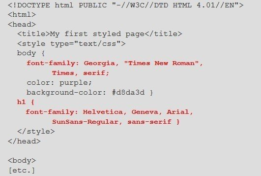 this image shows the html and css codes added to select font type and color - Page Color Html