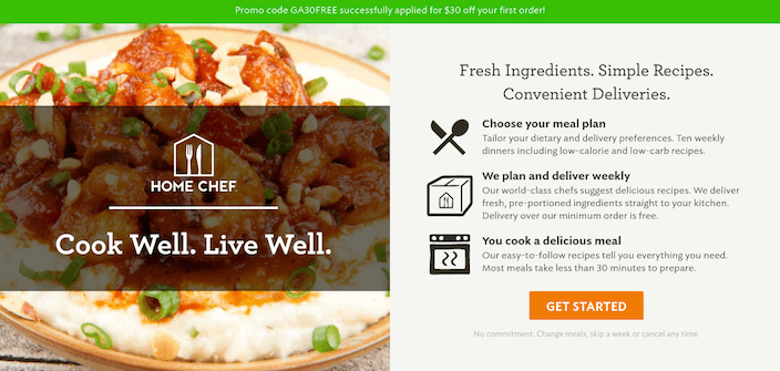 This picture shows marketers how Home Chef uses a click through landing page to generate conversions.