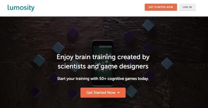 This picture shows marketers how Lumosity uses a click-through landing page to generate leads.