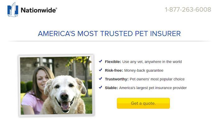 This picture shows marketers how Nationwide insurance uses a click through landing page to generate leads and sales.