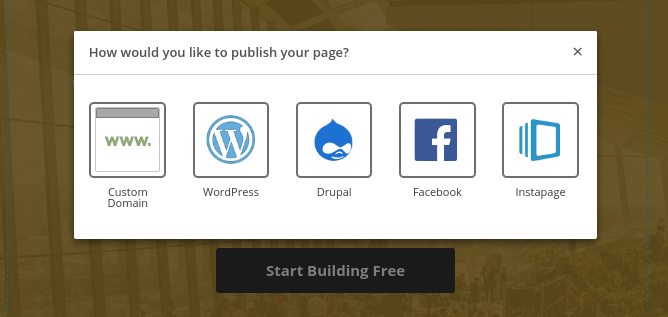 This picture shows marketers the many publishing options within Instapage.
