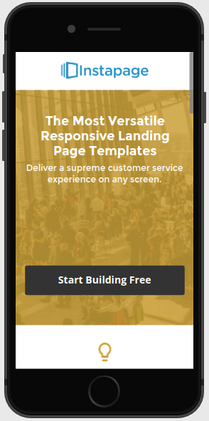 This picture shows marketers how a mobile responsive landing page looks in Instapage.