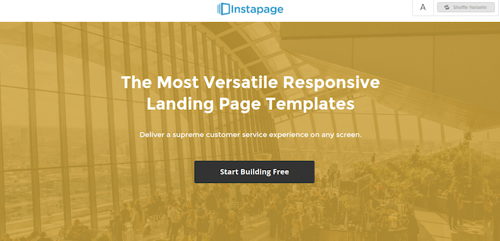 This picture shows marketers how a responsive landing page looks on desktop.
