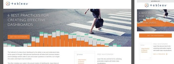 This picture shows marketers how Tableau's whitepaper responsive landing page looks on desktop and mobile.
