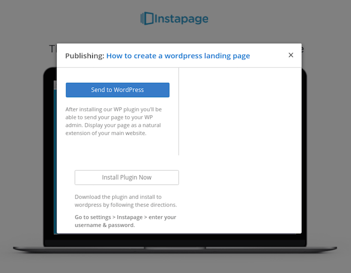 This picture shows marketers the plugin needed to publish a WordPress landing page within the Instapage builder.