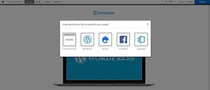 This picture shows marketers how to select the WordPress option when publishing a landing page.