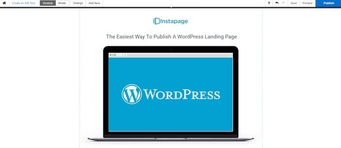 This picture shows marketers what a WordPress landing page can look like in the Instapage builder.
