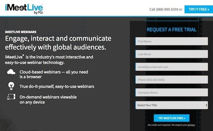 This picture shows marketers why iMeetLive has one of the best landing pages you'll find online.