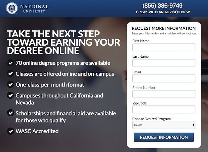 This picture shows marketers why National University has one of the best landing pages you'll find online.