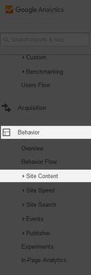 google analytics behaviour tab