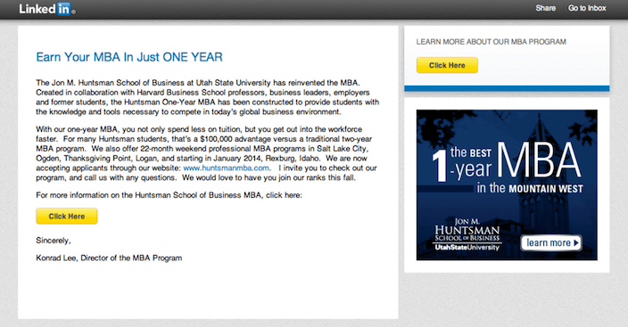 This picture shows marketers how to use LinkedIn InMail messages for lead generation.