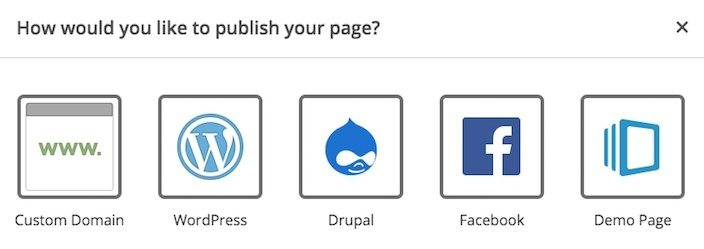 This picture shows marketers the available publishing options with Instapage software, including custom domains, WordPress, Drupal, and Facebook.