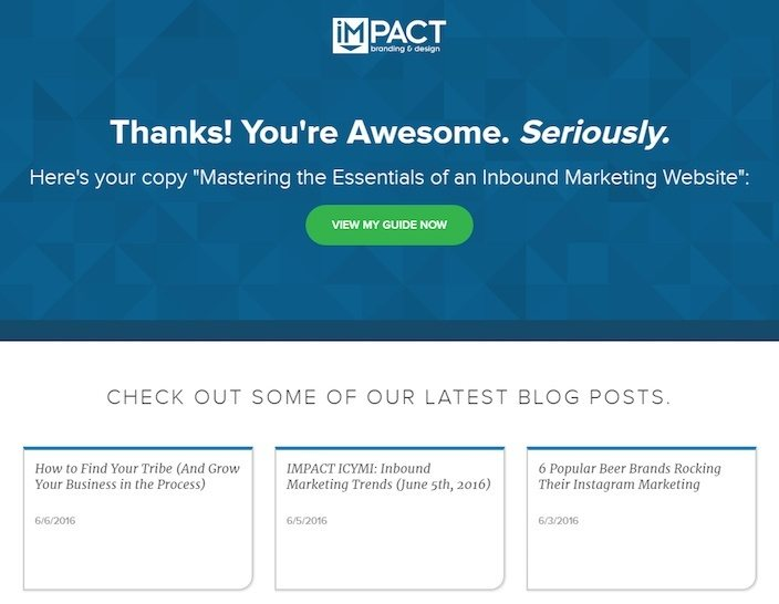 This picture shows how Impact Branding & Design A/B tests their thank you page to increase engagement and sales.