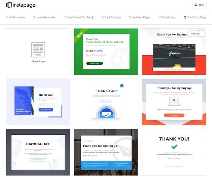 This picture shows marketers how to choose thank you page templates quickly and easily in Instapage.