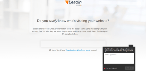 this image shows how the leadin landing page is using on-page surveys to collect user data