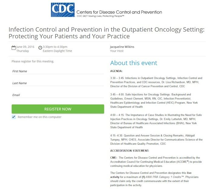 This picture shows marketers how the CDC uses a webinar landing page to generate awareness.