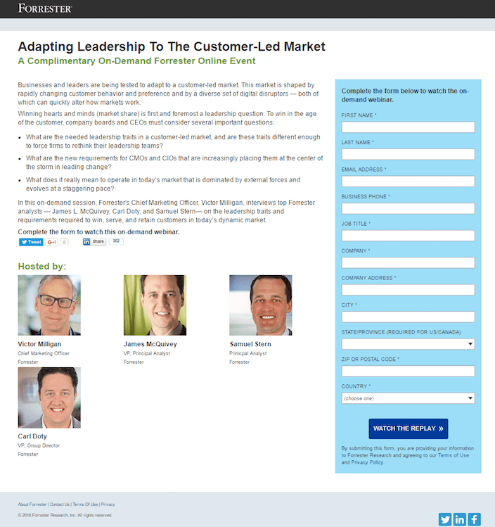 This picture shows marketers how Forrester Research uses a webinar landing page to generate leads and sales.