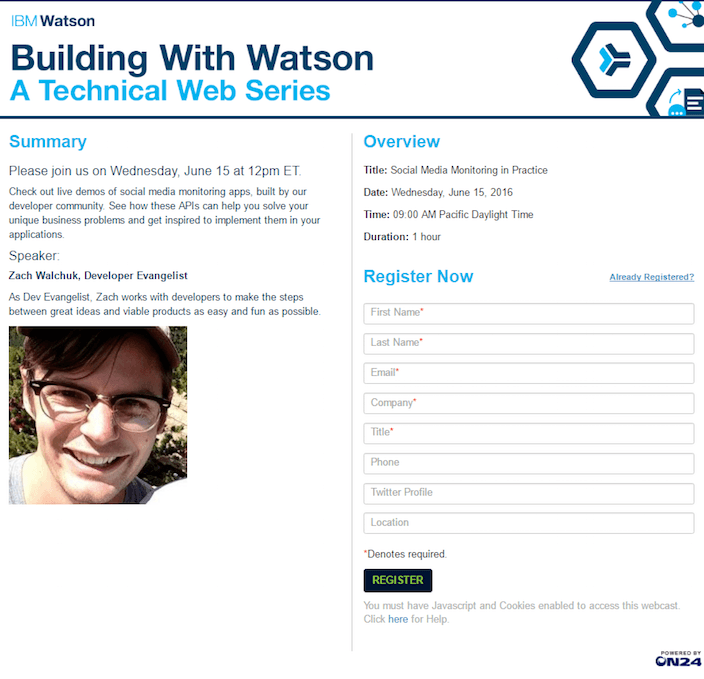 """This picture shows marketers how IBM uses a webinar landing page to generate leads and brand awareness around the """"Watson"""" project."""