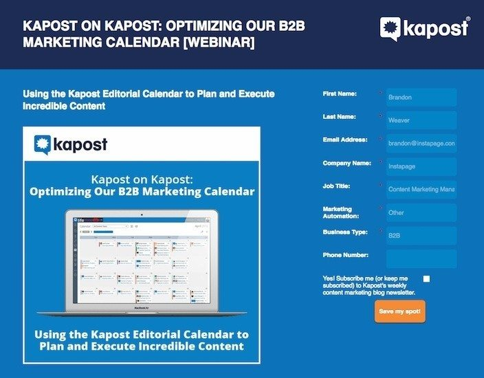 """This picture shows marketers how Kapost uses a webinar landing page to generate leads for its """"marketing calendar optimization""""series."""