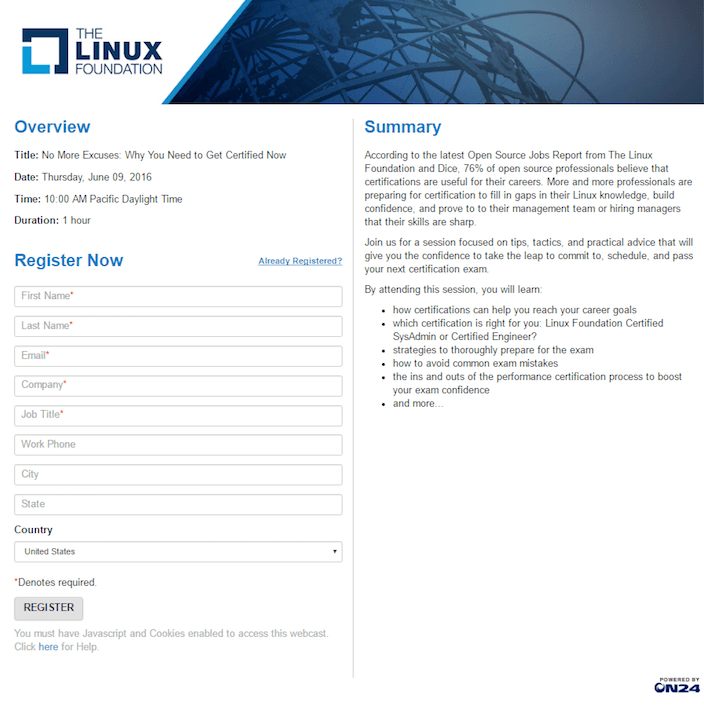 This picture shows marketers how The Linux Foundation uses a webinar landing page to generate brand awareness, leads, and sales.