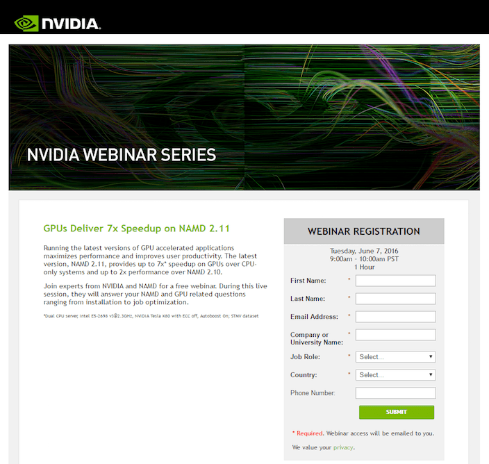 This picture shows marketers how Nvidia uses a webinar landing page to generate brand awareness, leads, and sales.