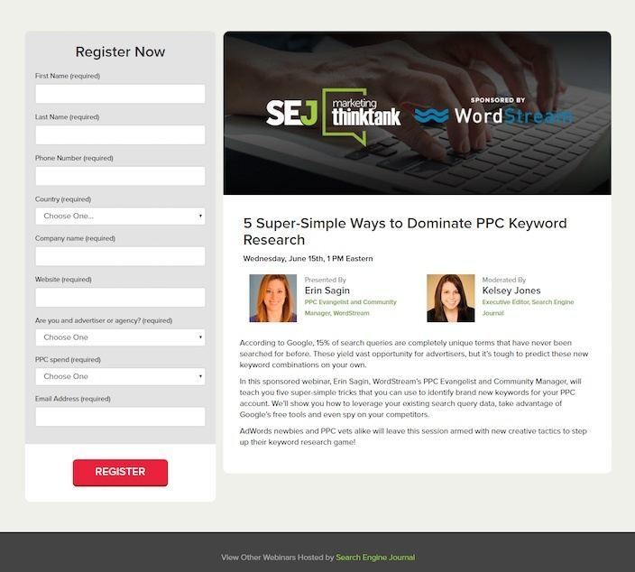 This picture shows marketers how Search Engine Journal partnered with WordStream using a webinar landing page to generate leads and sales.