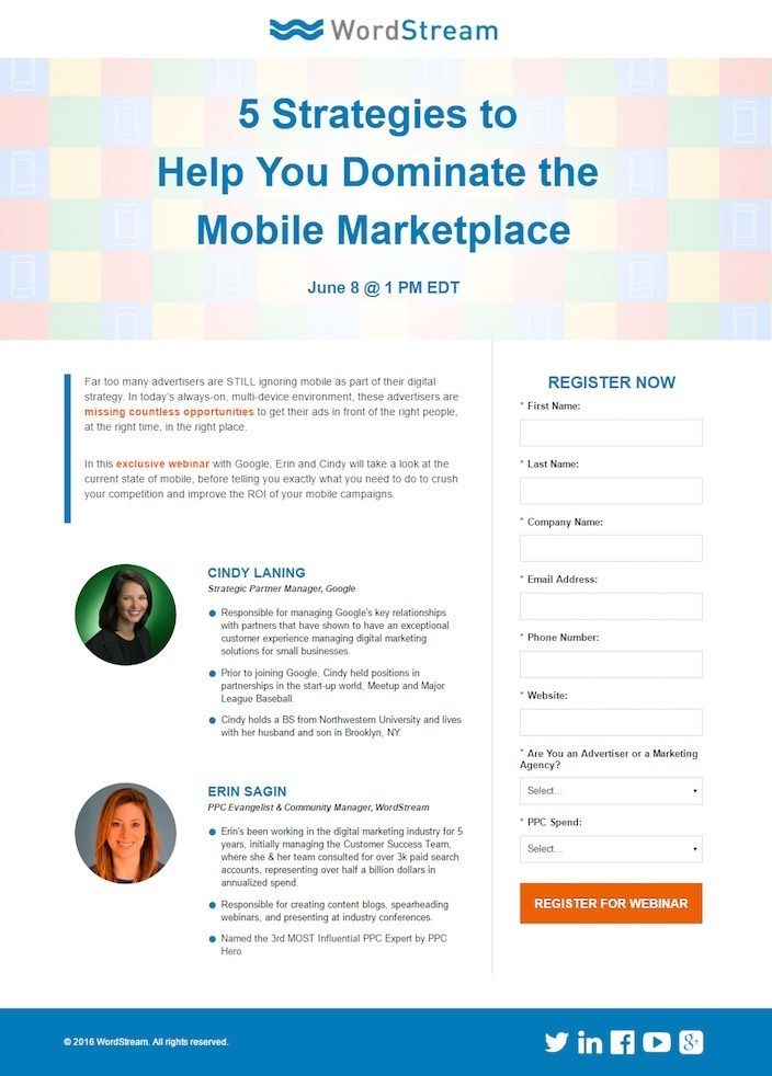 This picture shows marketers how WordStream uses a webinar landing page to generate brand awareness, leads, and sales.
